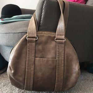 Tan leather hobo bag